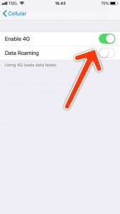 cara enable lte 4g di iphone